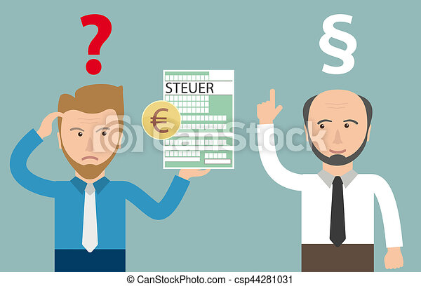 Cartoon Angry Businessman Steuer Euro Accountant Paragraph German Text Steuer Translate Tax Canstock
