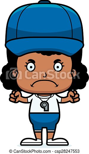Cartoon Angry Coach Girl - csp28247553