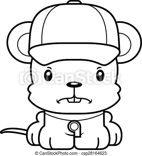 Cartoon Angry Coach Mouse - csp28164623