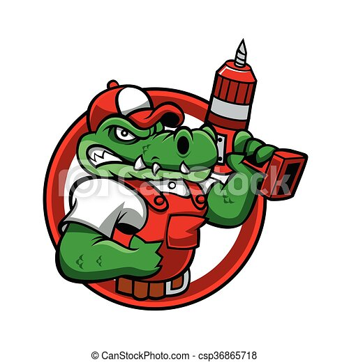 Cartoon angry crocodile mascot.handyman cartoon. vector ... Raccoon Face Clip Art