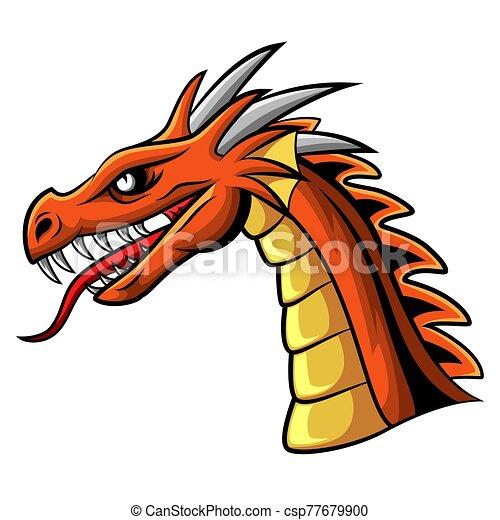 Cartoon angry dragon head mascot - csp77679900