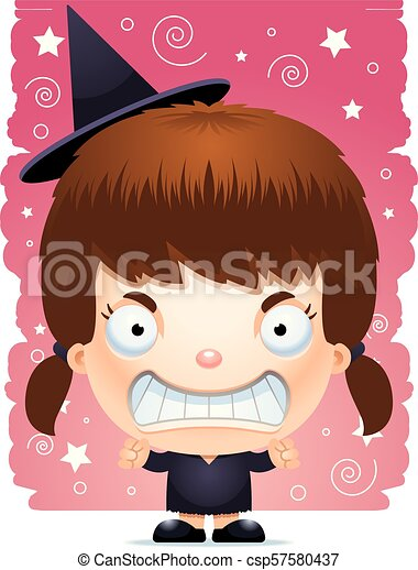 Cartoon Angry Girl Witch - csp57580437