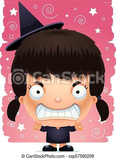 Cartoon Angry Girl Witch - csp57580208