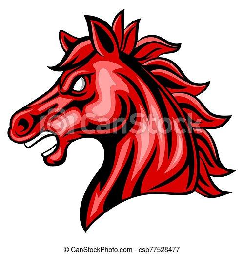 Cartoon angry horse head mascot - csp77528477