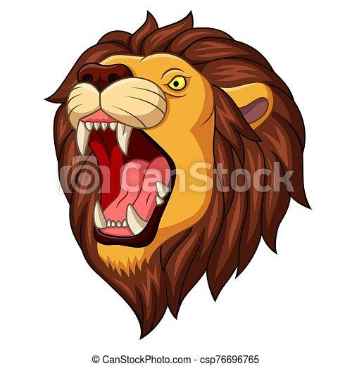 Cartoon angry lion head mascot - csp76696765