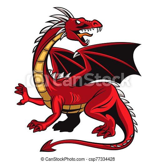 Cartoon angry red dragon mascot - csp77334428