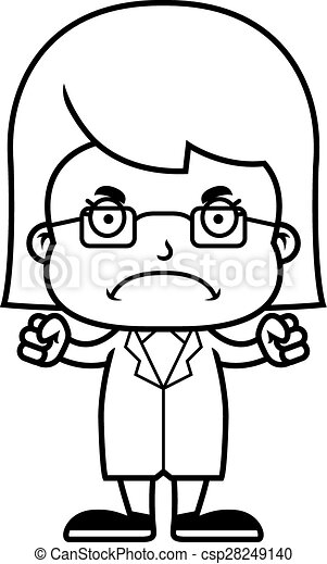 cartoon angry scientist girl a cartoon scientist girl eps vector rh canstockphoto com Mad Clip Art Confused Clip Art