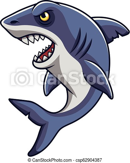 Cartoon angry shark mascot - csp62904387