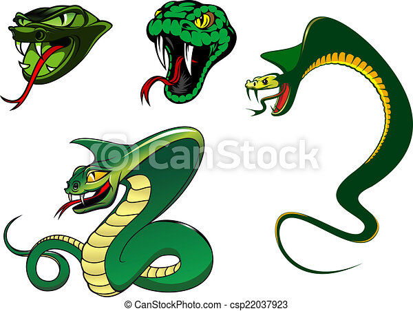 Cartoon angry snake characters - csp22037923