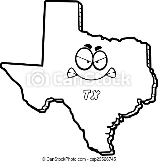 Cartoon Angry Texas A Cartoon Illustration Of The State Of Texas