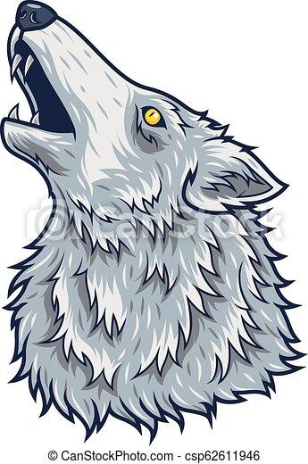 Cartoon angry wolf head mascot - csp62611946