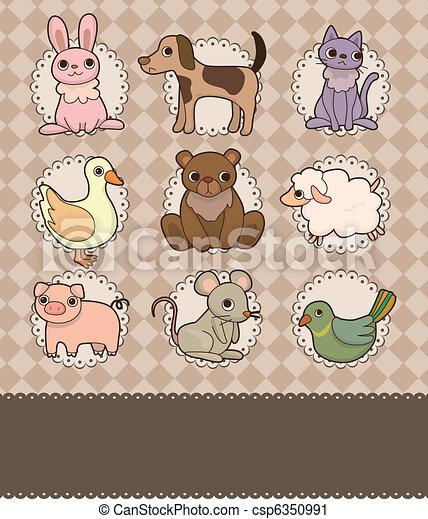 cartoon animal card - csp6350991