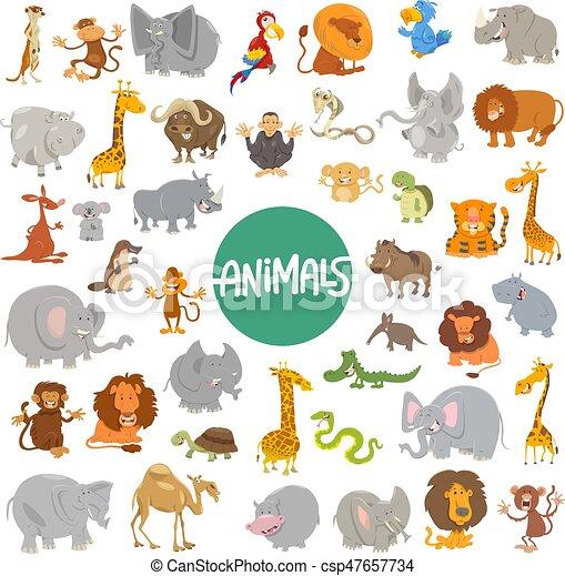 cartoon animal characters big set - csp47657734