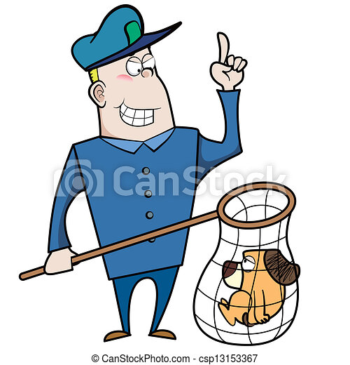 cartoon animal control officer with dog in net cartoon clip art rh canstockphoto com