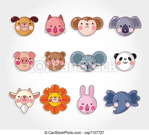 cartoon animal face icon set,vector - csp7107727