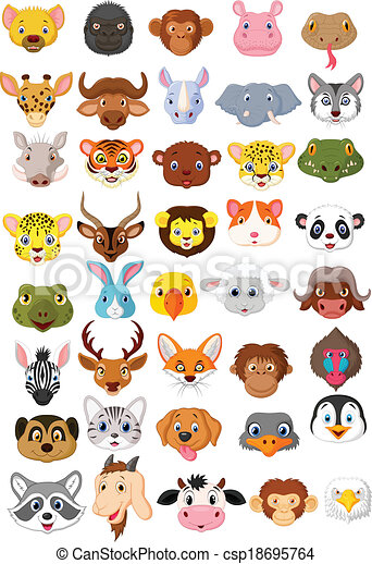 Cartoon animal head collection set  - csp18695764