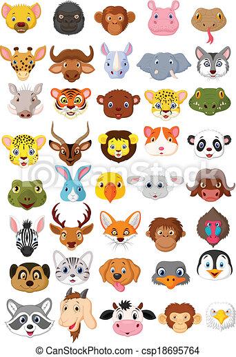 Cartoon animal head collection set  - csp18695764