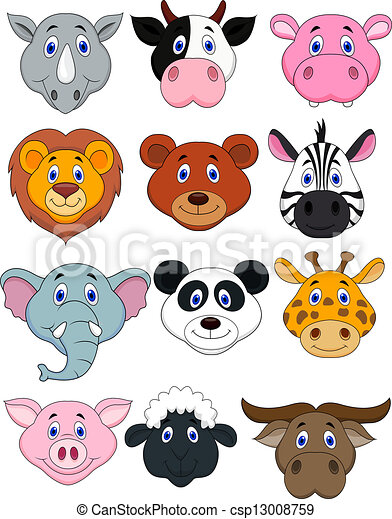 Cartoon animal head icon  - csp13008759