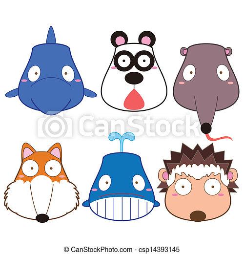 cartoon animal head set - csp14393145