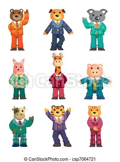 Cartoon animal icons set - csp7064721