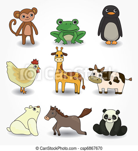 cartoon animal icons set - csp6867670