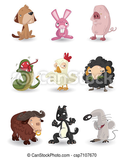 cartoon animal icons set - csp7107670