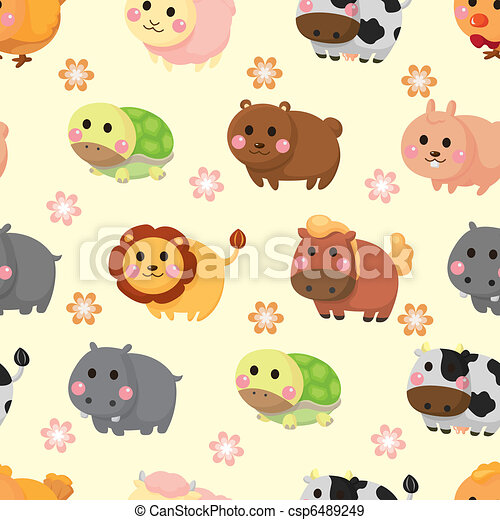 cartoon animal seamless pattern - csp6489249