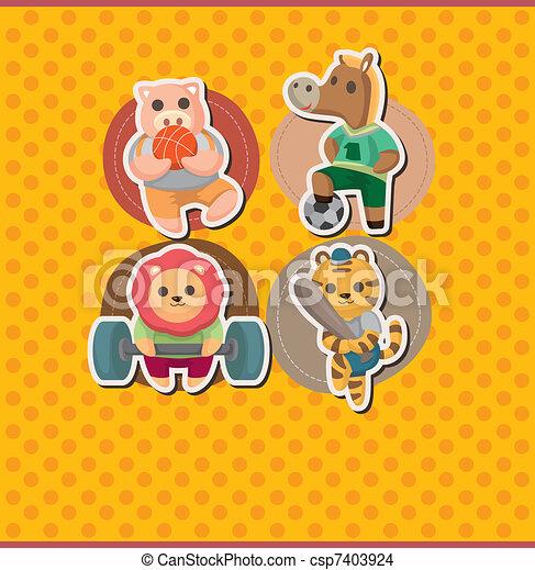 cartoon animal sport card - csp7403924