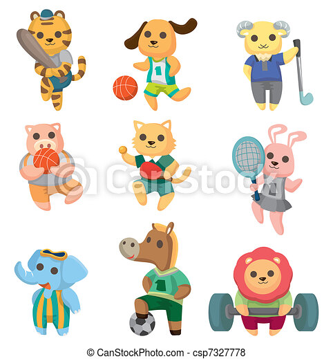 cartoon animal sport player icons set - csp7327778