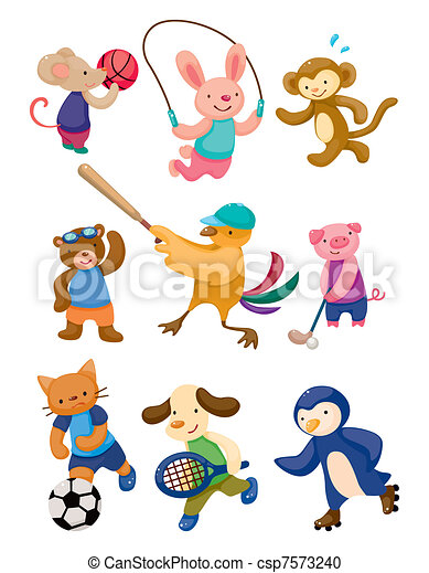 cartoon animal sport player - csp7573240