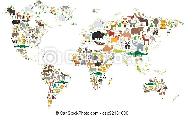 Cartoon animal world map for children and kids, animals from all ...
