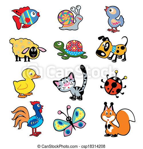 cartoon animals for kids vector - Kids Cartoon Animals
