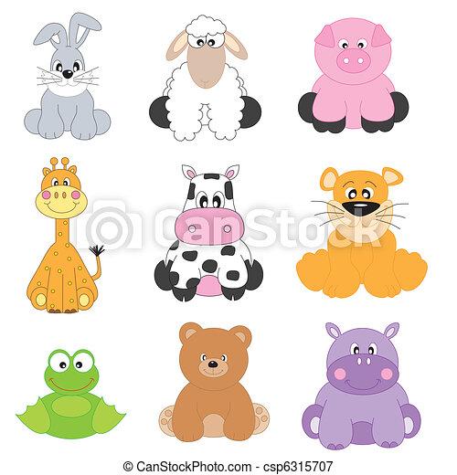 Cartoon animals  - csp6315707