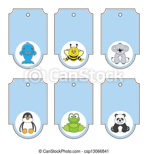Cartoon animals labels set - csp13066841