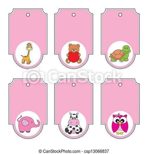 Cartoon animals labels set - csp13066837