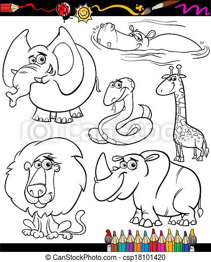 cartoon animals set for coloring book - csp18101420