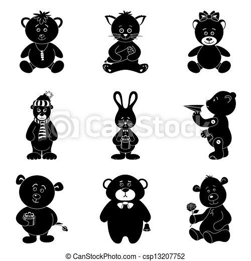 Cartoon animals, silhouette - csp13207752