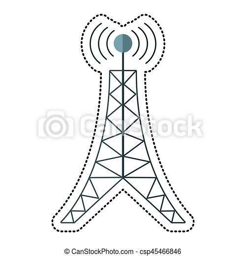 cartoon antenna tower broadcast connection