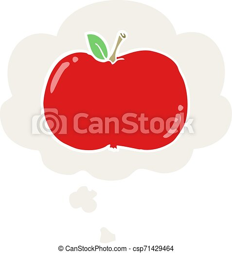 cartoon apple and thought bubble in retro style - csp71429464