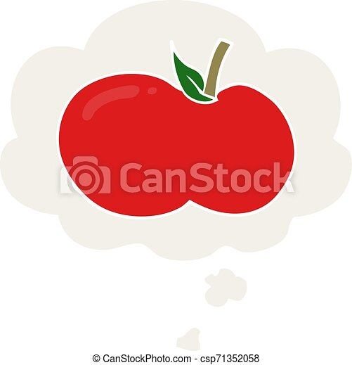 cartoon apple and thought bubble in retro style - csp71352058