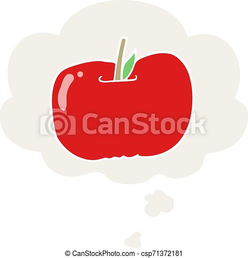 cartoon apple and thought bubble in retro style - csp71372181