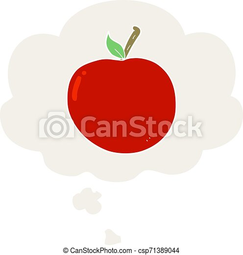 cartoon apple and thought bubble in retro style - csp71389044