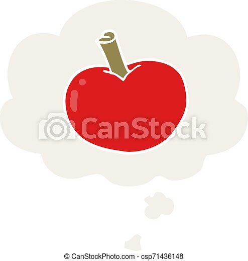 cartoon apple and thought bubble in retro style - csp71436148