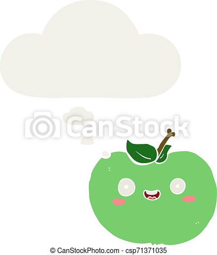 cartoon apple and thought bubble in retro style - csp71371035