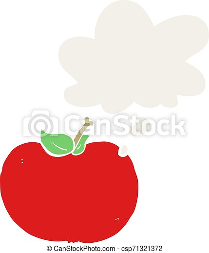 cartoon apple and thought bubble in retro style - csp71321372