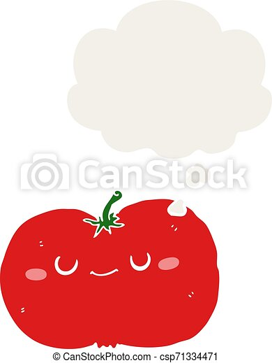 cartoon apple and thought bubble in retro style - csp71334471
