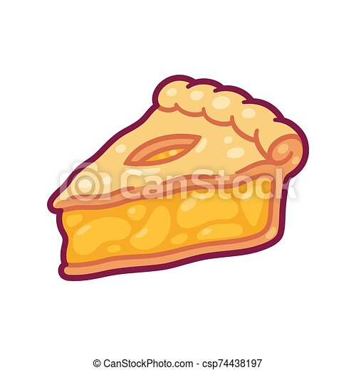 Cartoon Apple Pie Slice Cute Cartoon Apple Pie Drawing Hand Drawn Slice Of Traditional American Fruit Pie Isolated Vector Canstock