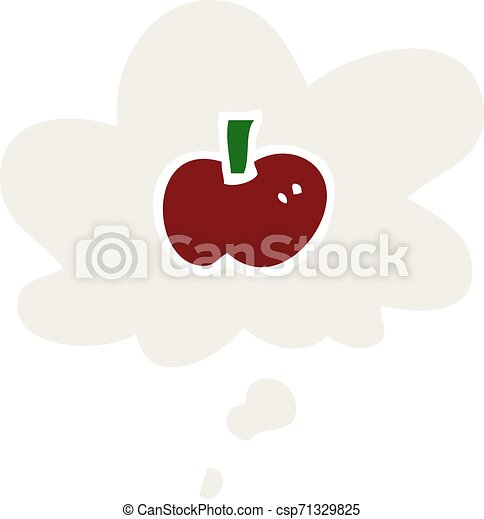 cartoon apple symbol and thought bubble in retro style - csp71329825