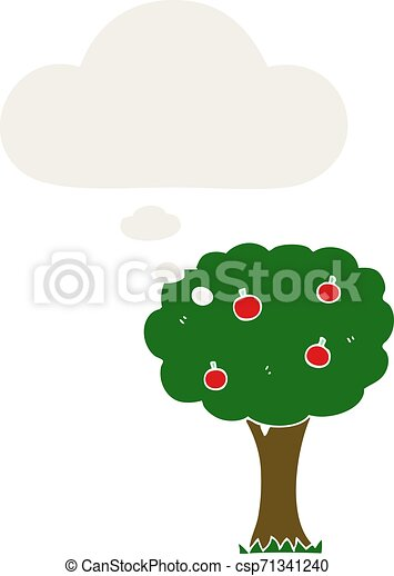 cartoon apple tree and thought bubble in retro style - csp71341240