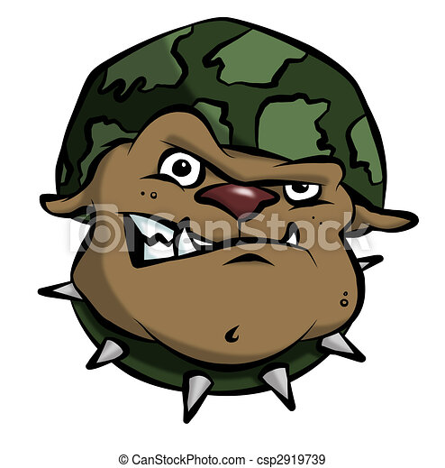 Cartoon Army Bulldog - csp2919739